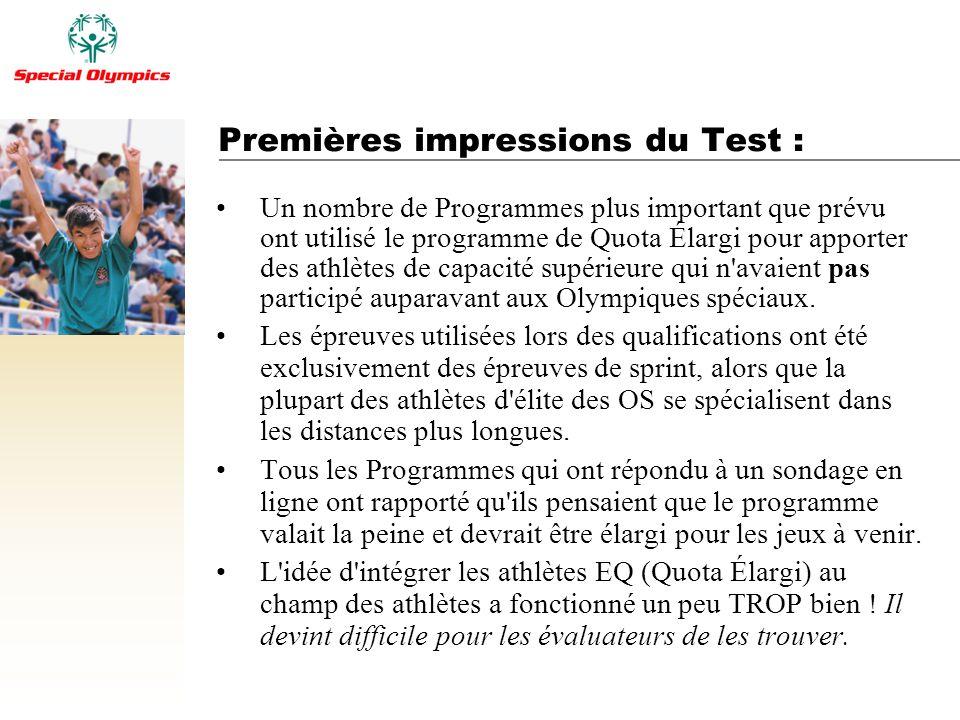 Premières impressions du Test : Un nombre de Programmes plus important que prévu ont utilisé le programme de Quota Élargi pour apporter des athlètes d
