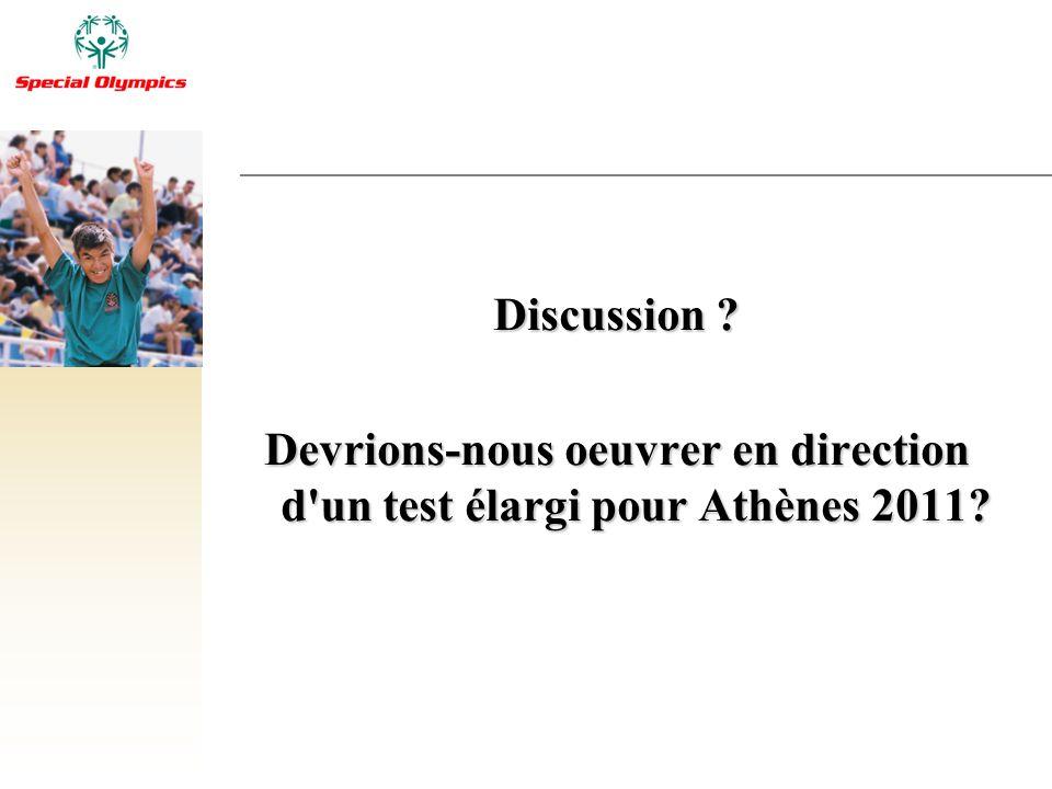 Discussion ? Devrions-nous oeuvrer en direction d'un test élargi pour Athènes 2011?