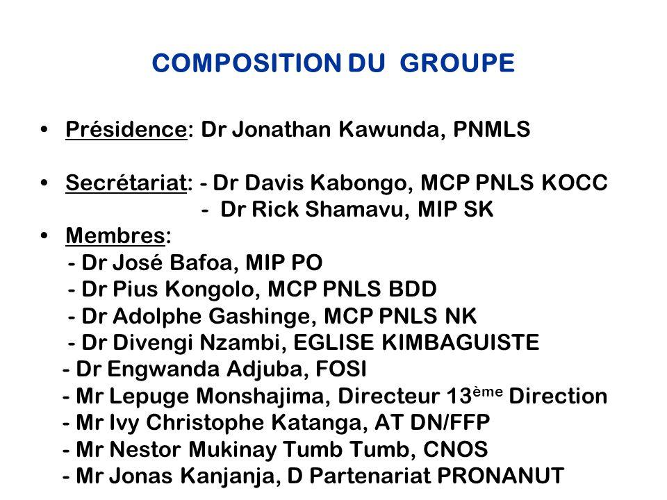 COMPOSITION DU GROUPE Présidence: Dr Jonathan Kawunda, PNMLS Secrétariat: - Dr Davis Kabongo, MCP PNLS KOCC - Dr Rick Shamavu, MIP SK Membres: - Dr José Bafoa, MIP PO - Dr Pius Kongolo, MCP PNLS BDD - Dr Adolphe Gashinge, MCP PNLS NK - Dr Divengi Nzambi, EGLISE KIMBAGUISTE - Dr Engwanda Adjuba, FOSI - Mr Lepuge Monshajima, Directeur 13 ème Direction - Mr Ivy Christophe Katanga, AT DN/FFP - Mr Nestor Mukinay Tumb Tumb, CNOS - Mr Jonas Kanjanja, D Partenariat PRONANUT