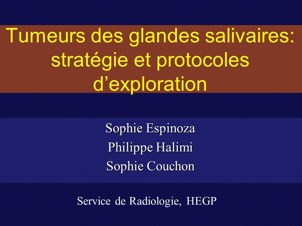 Tumeurs des glandes salivaires: stratégie et protocoles d'exploration Sophie Espinoza Philippe Halimi Sophie Couchon Service de Radiologie, HEGP