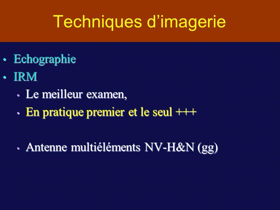 Techniques d'imagerie Echographie Echographie IRM IRM Le meilleur examen, Le meilleur examen, En pratique premier et le seul +++ En pratique premier e