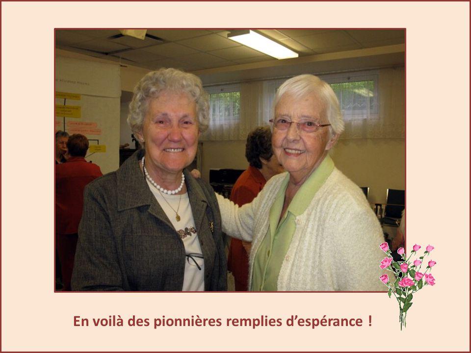 Accueil des compagnes de Québec La joie se lit sur les visages de Céline et de Berthe.