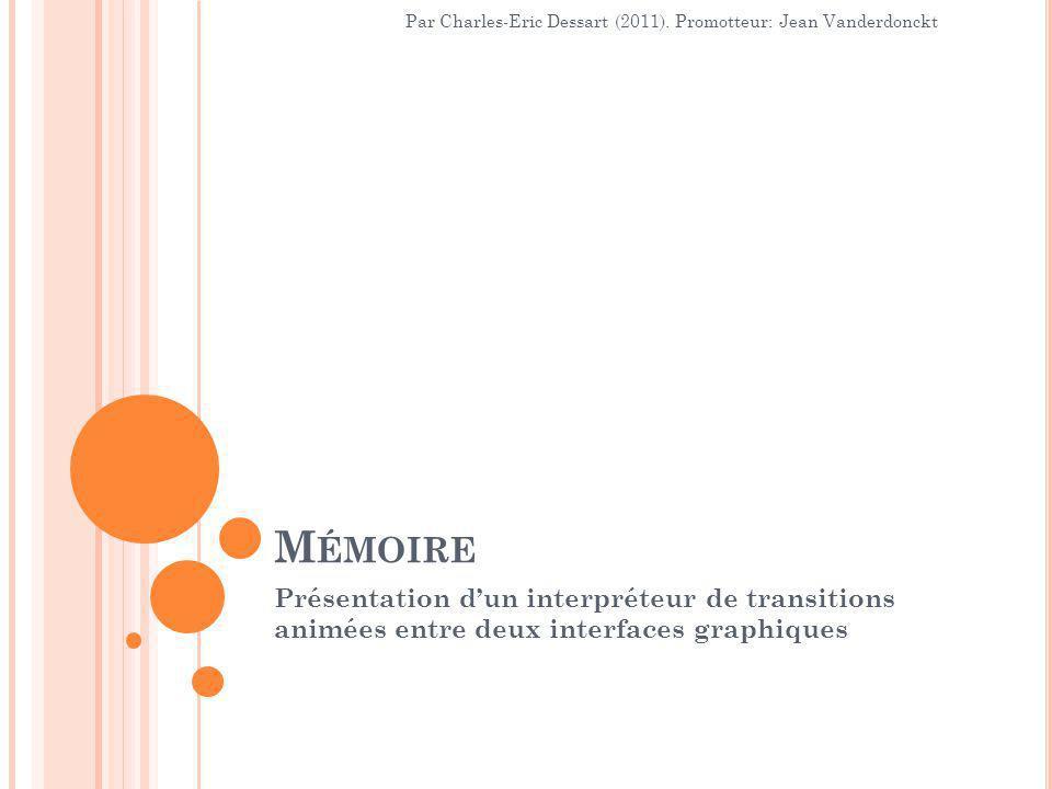 M ÉMOIRE Présentation d'un interpréteur de transitions animées entre deux interfaces graphiques Par Charles-Eric Dessart (2011).