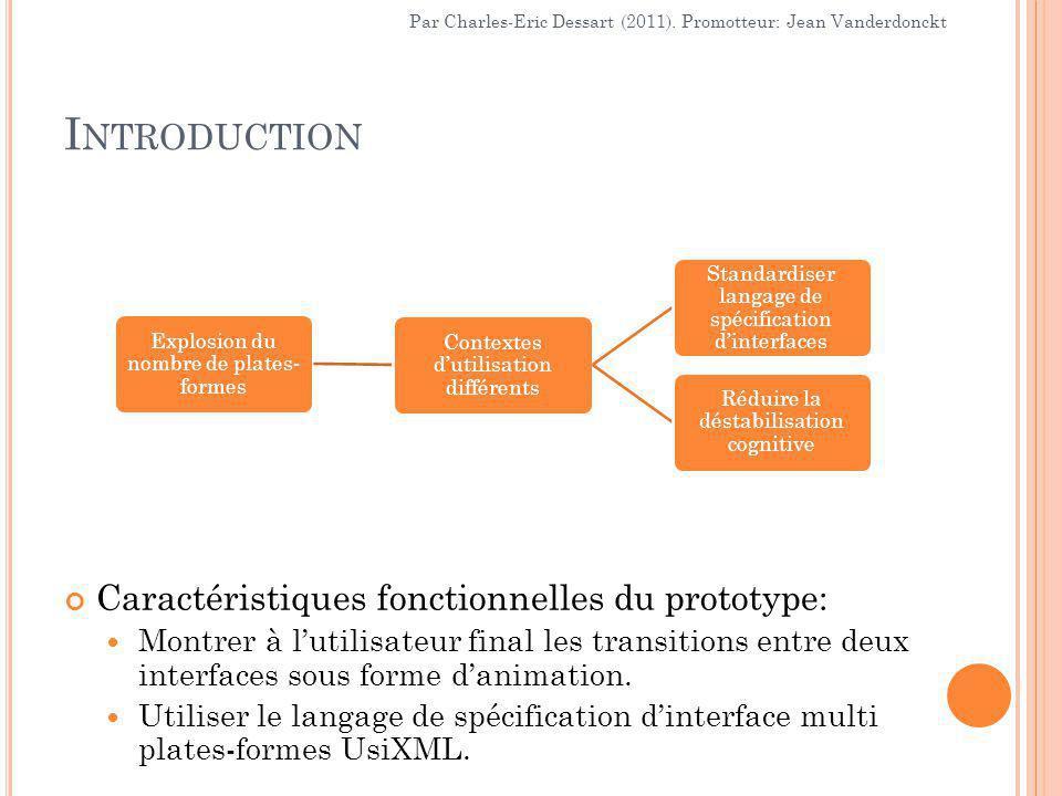 I NTRODUCTION Explosion du nombre de plates- formes Contextes d'utilisation différents Standardiser langage de spécification d'interfaces Réduire la déstabilisation cognitive Par Charles-Eric Dessart (2011).