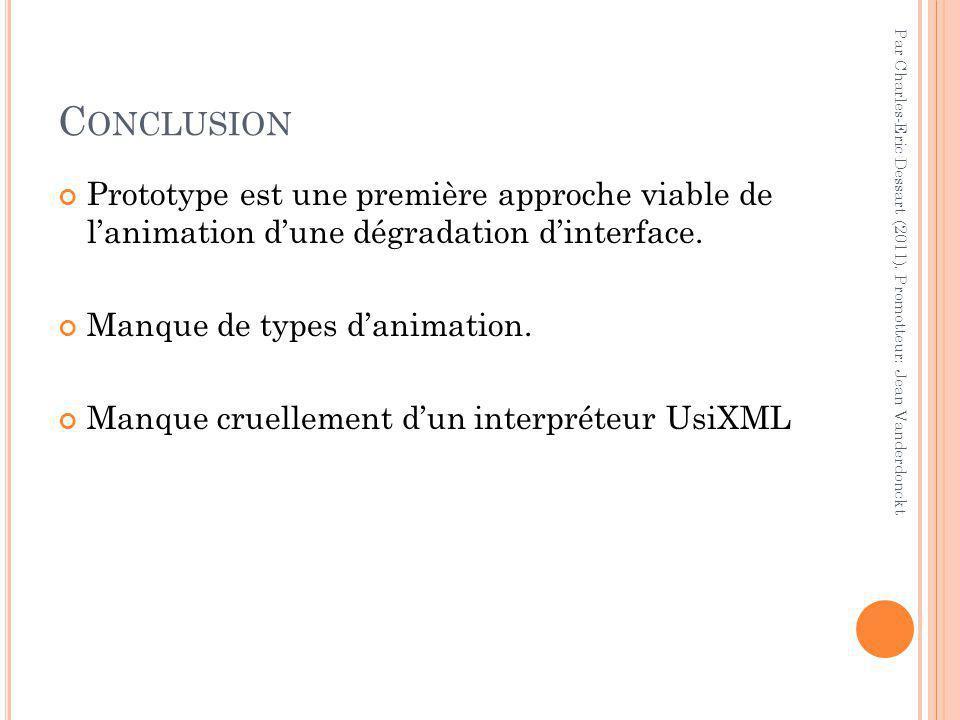 C ONCLUSION Prototype est une première approche viable de l'animation d'une dégradation d'interface.