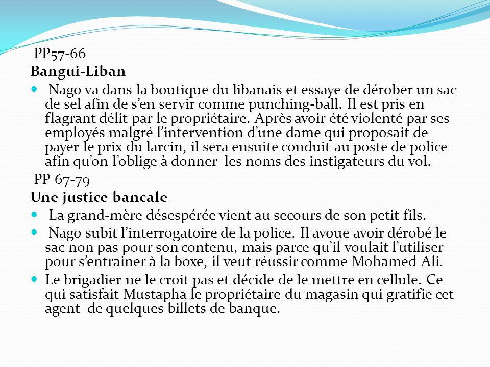 PP57-66 Bangui-Liban Nago va dans la boutique du libanais et essaye de dérober un sac de sel afin de s'en servir comme punching-ball.