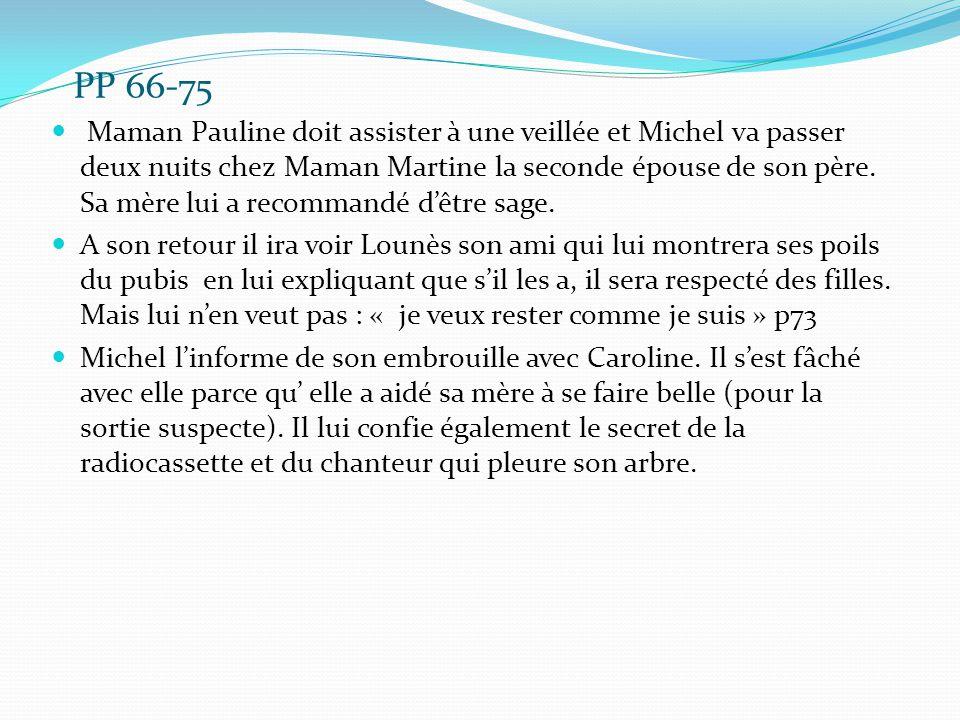 PP 66-75 Maman Pauline doit assister à une veillée et Michel va passer deux nuits chez Maman Martine la seconde épouse de son père. Sa mère lui a reco