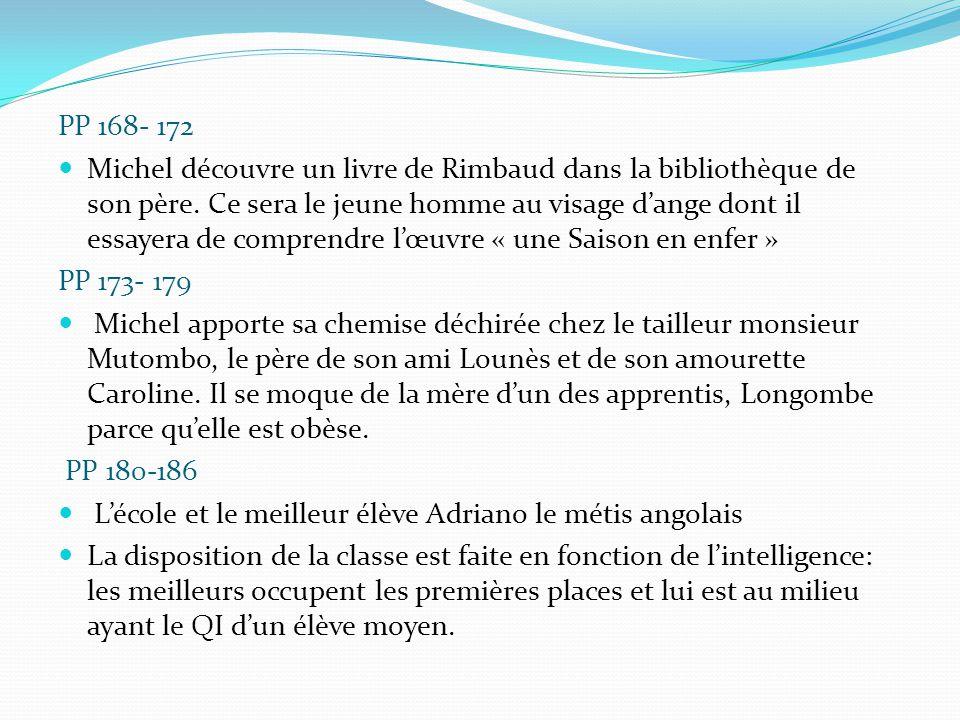 PP 168- 172 Michel découvre un livre de Rimbaud dans la bibliothèque de son père. Ce sera le jeune homme au visage d'ange dont il essayera de comprend