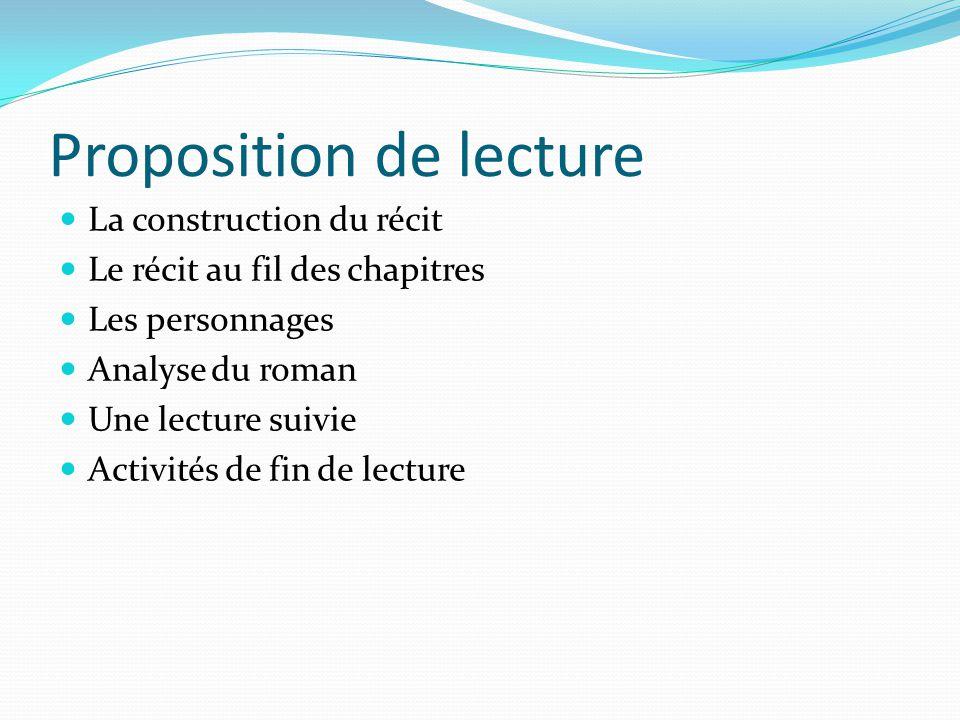 Proposition de lecture La construction du récit Le récit au fil des chapitres Les personnages Analyse du roman Une lecture suivie Activités de fin de