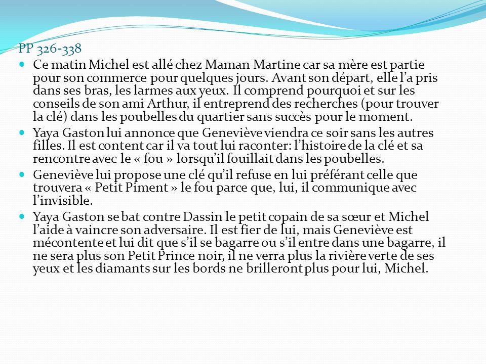 PP 326-338 Ce matin Michel est allé chez Maman Martine car sa mère est partie pour son commerce pour quelques jours. Avant son départ, elle l'a pris d