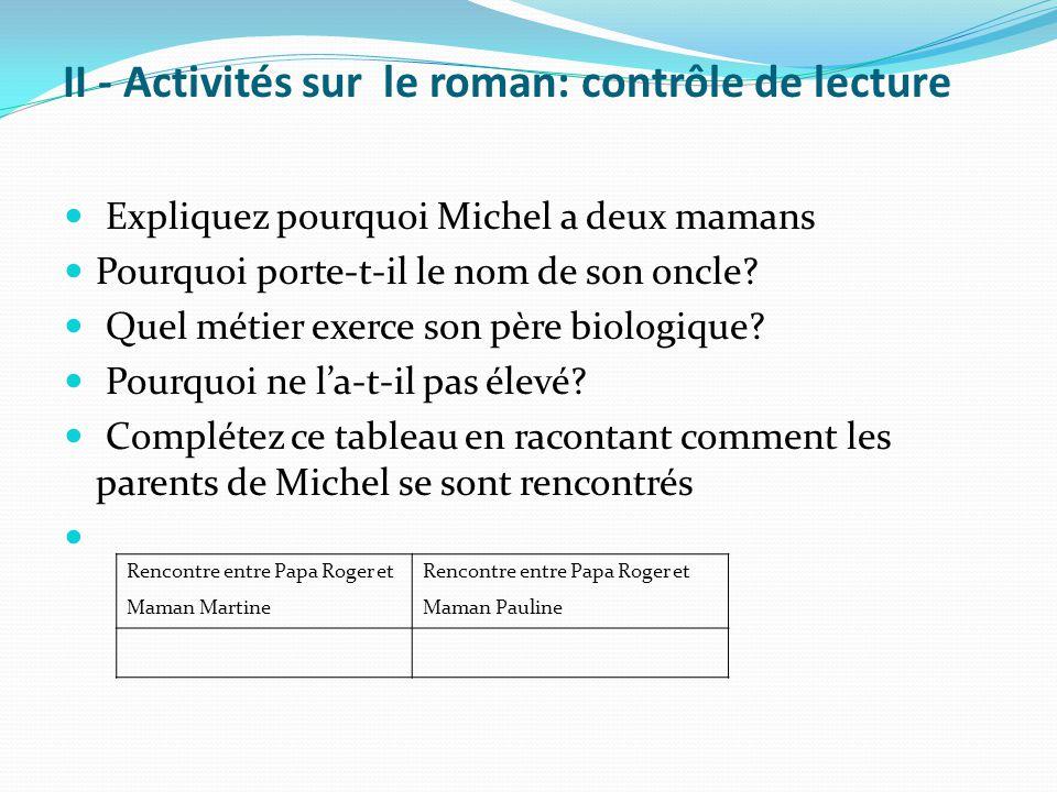 II - Activités sur le roman: contrôle de lecture Expliquez pourquoi Michel a deux mamans Pourquoi porte-t-il le nom de son oncle? Quel métier exerce s