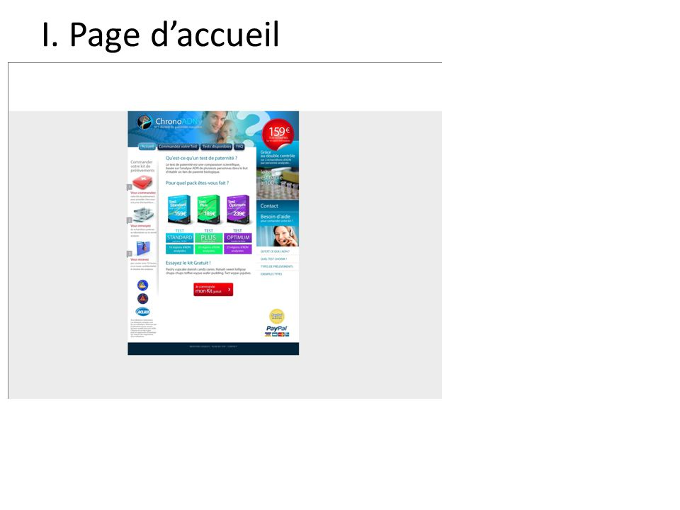 I. Page d'accueil