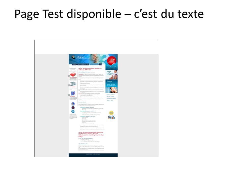 Page Test disponible – c'est du texte