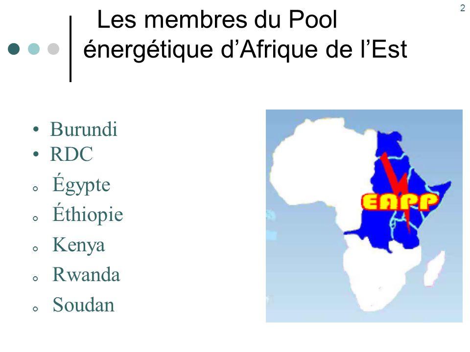 2 Les membres du Pool énergétique d'Afrique de l'Est Burundi RDC Égypte Éthiopie Kenya Rwanda Soudan