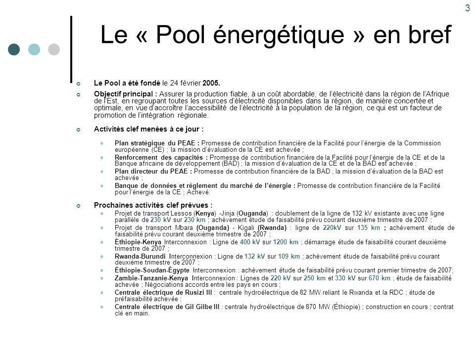 3 Le « Pool énergétique » en bref Le Pool a été fondé le 24 février 2005. Objectif principal : Assurer la production fiable, à un coût abordable, de l