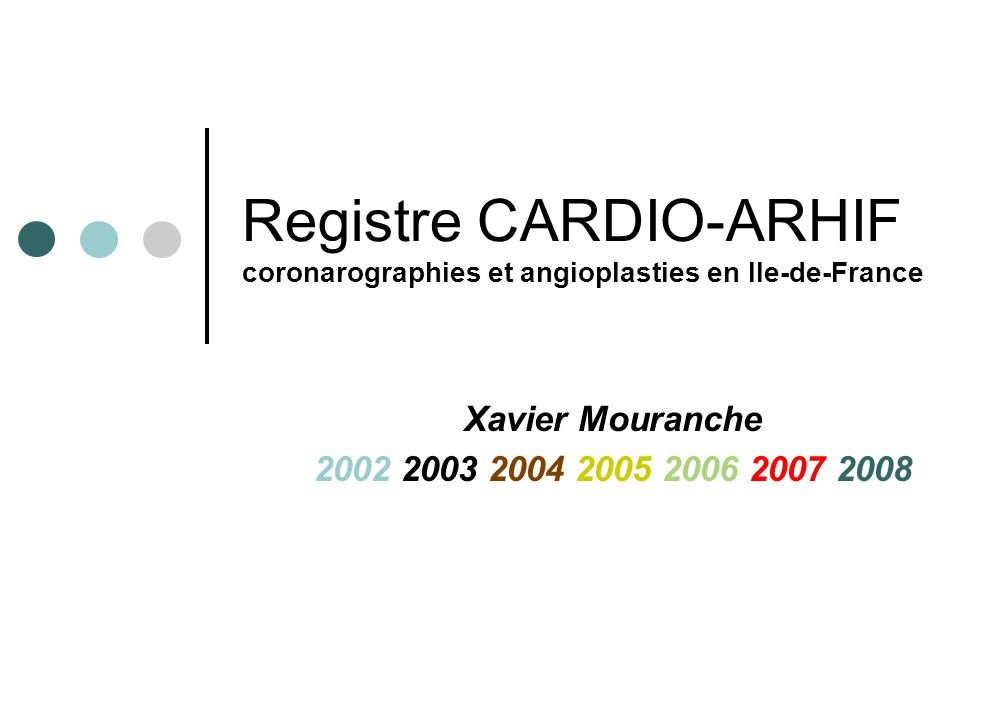 Registre CARDIO-ARHIF coronarographies et angioplasties en Ile-de-France Xavier Mouranche 2002 2003 2004 2005 2006 2007 2008