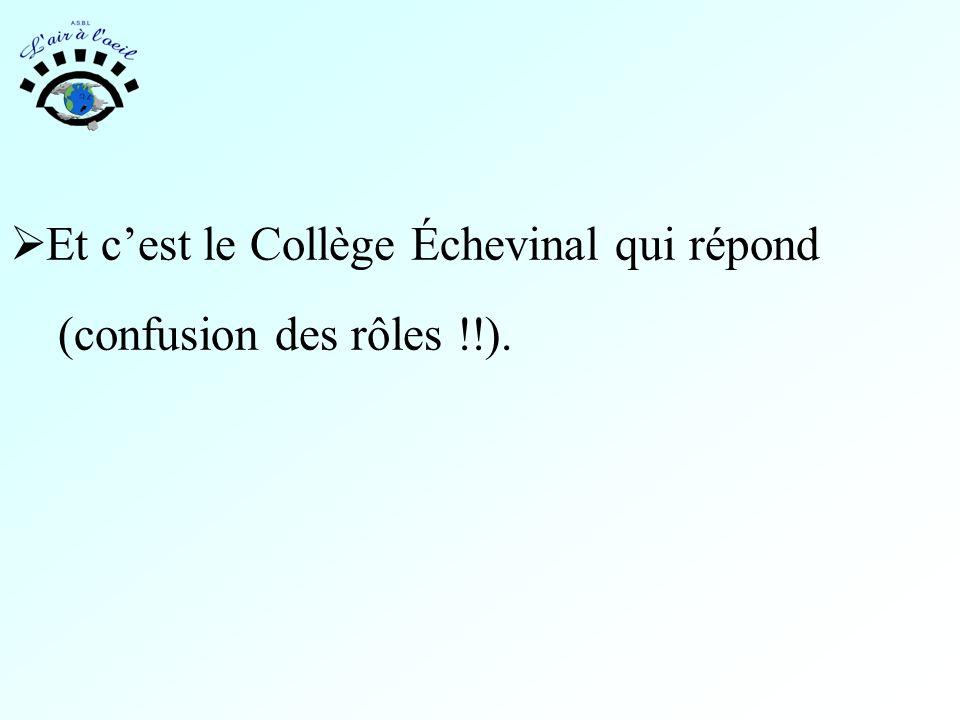  Et c'est le Collège Échevinal qui répond (confusion des rôles !!).