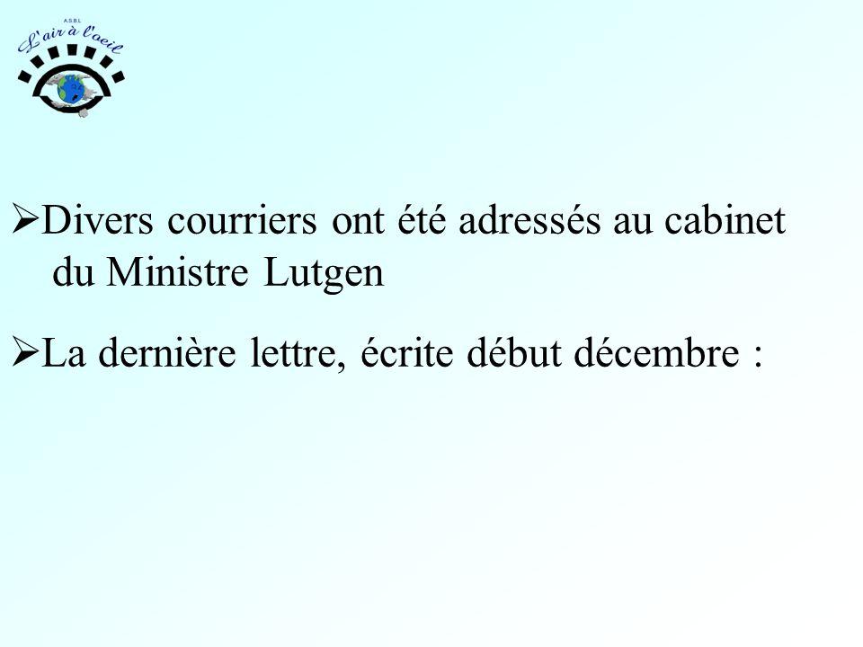  Divers courriers ont été adressés au cabinet du Ministre Lutgen  La dernière lettre, écrite début décembre :