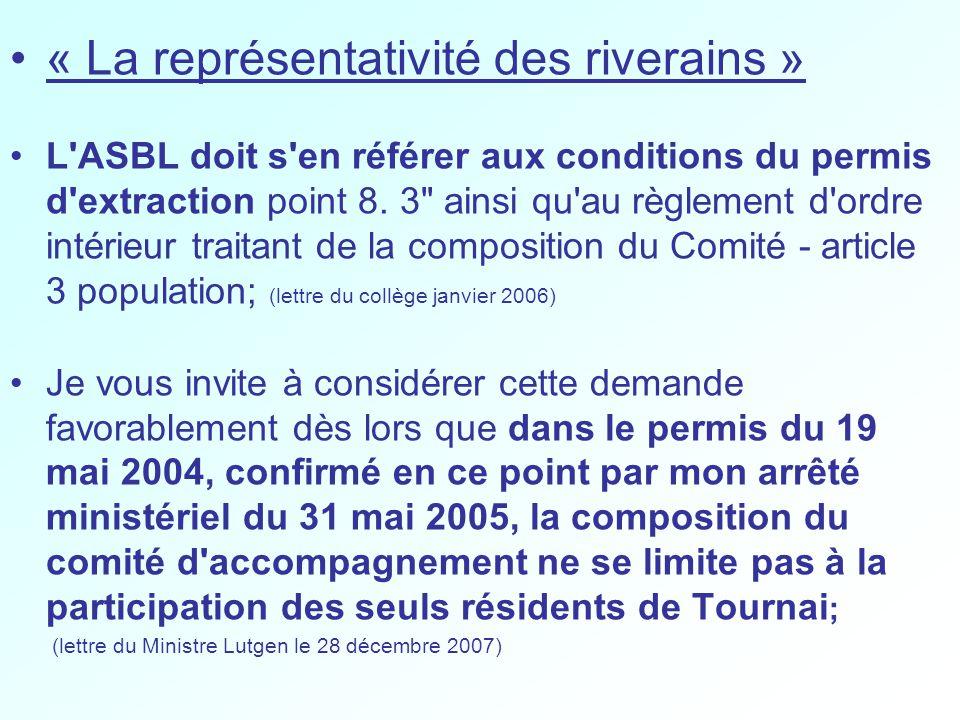 « La représentativité des riverains » L ASBL doit s en référer aux conditions du permis d extraction point 8.