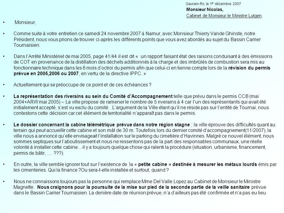 Nos demandes sont : Révision du permis : le 31 décembre 2007 est proche ; l'application de la directive IPPC est en cours, la révision est-elle prête .