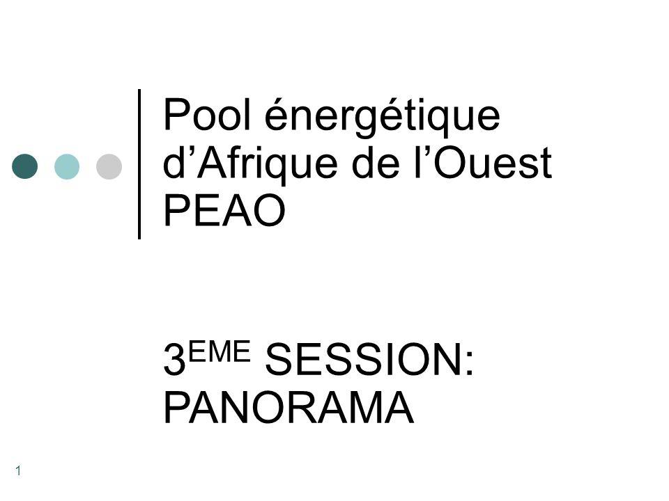 1 Pool énergétique d'Afrique de l'Ouest PEAO 3 EME SESSION: PANORAMA