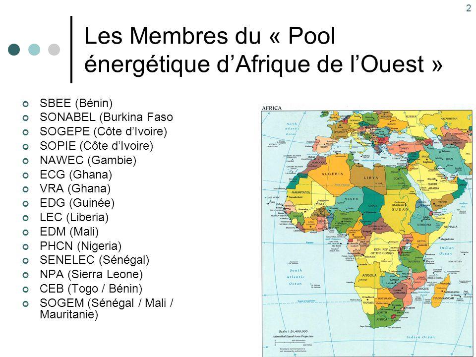 2 Les Membres du « Pool énergétique d'Afrique de l'Ouest » SBEE (Bénin) SONABEL (Burkina Faso SOGEPE (Côte d'Ivoire) SOPIE (Côte d'Ivoire) NAWEC (Gamb