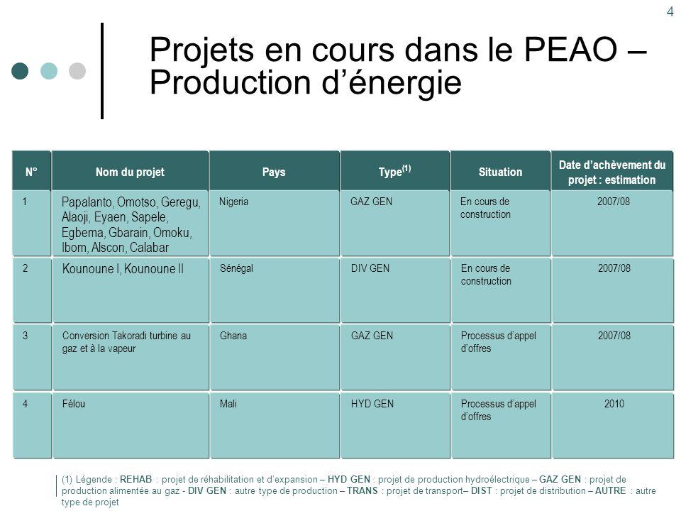 4 Projets en cours dans le PEAO – Production d'énergie Type (1) GAZ GEN Pays Nigeria Nom du projet Papalanto, Omotso, Geregu, Alaoji, Eyaen, Sapele, E