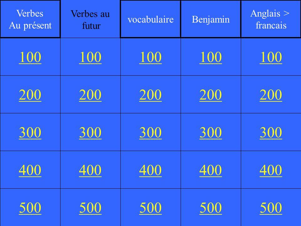 200 300 400 500 100 200 300 400 500 100 200 300 400 500 100 200 300 400 500 100 200 300 400 500 100 Verbes Au présent vocabulaireBenjamin Anglais > francais Verbes au futur