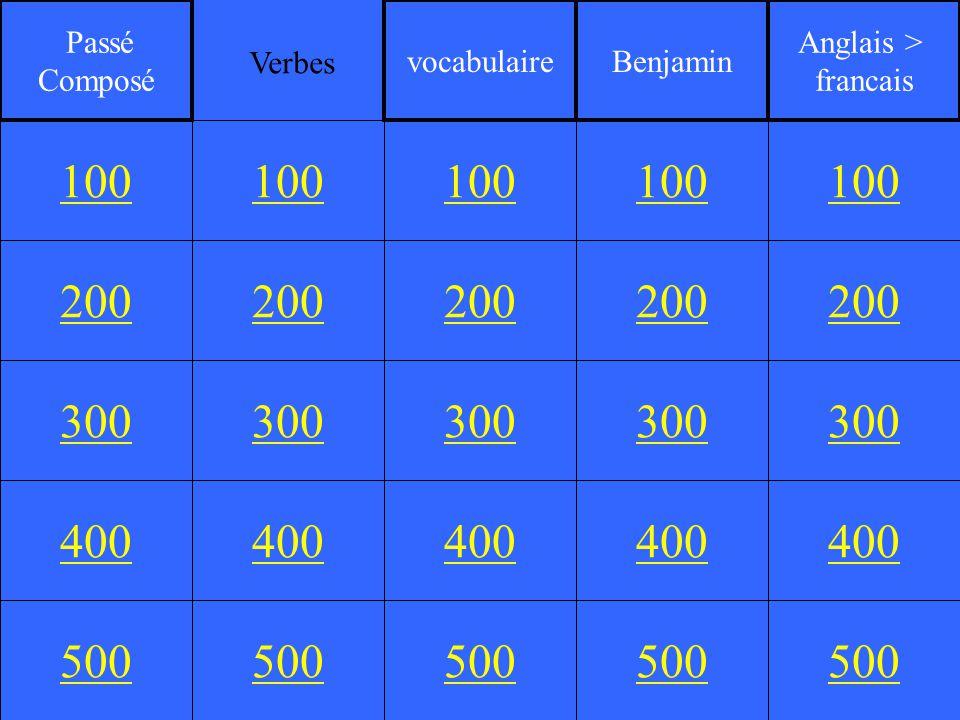 200 300 400 500 100 200 300 400 500 100 200 300 400 500 100 200 300 400 500 100 200 300 400 500 100 Passé Composé vocabulaireBenjamin Anglais > francais Verbes