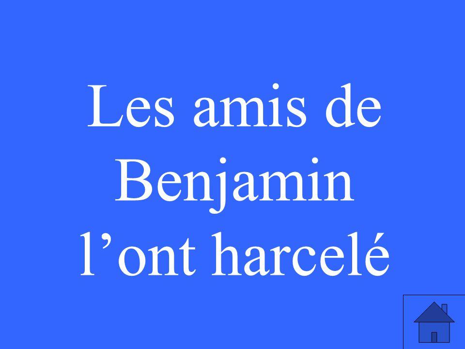 Les amis de Benjamin l'ont harcelé