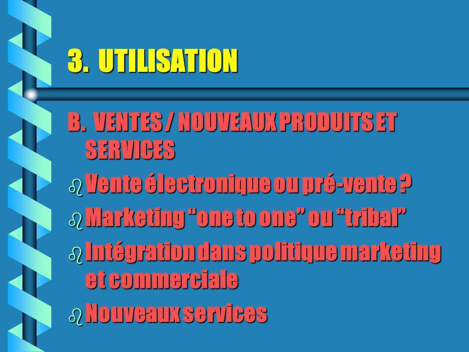 3.UTILISATION B. VENTES / NOUVEAUX PRODUITS ET SERVICES b Vente électronique ou pré-vente .