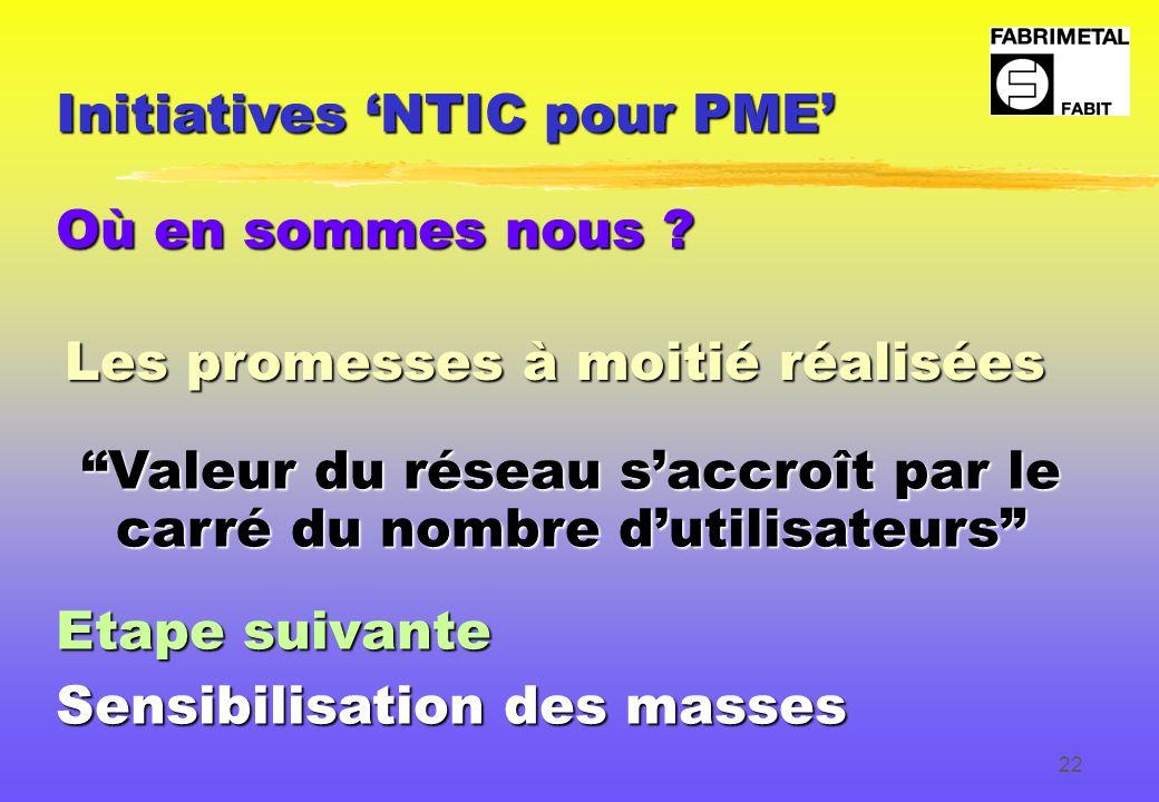 22 Initiatives 'NTIC pour PME' Où en sommes nous .