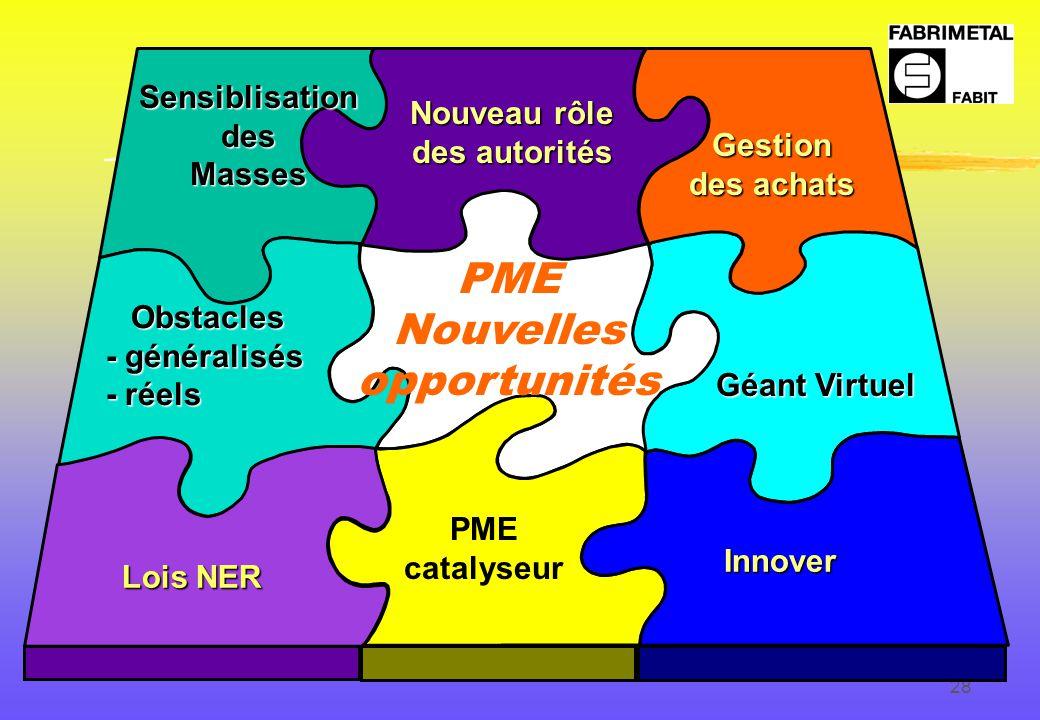28 Lois NER Innover PME Nouvelles opportunités Nouveau rôle des autorités Géant Virtuel Gestion des achats PME catalyseur Obstacles - généralisés - réels SensiblisationdesMasses