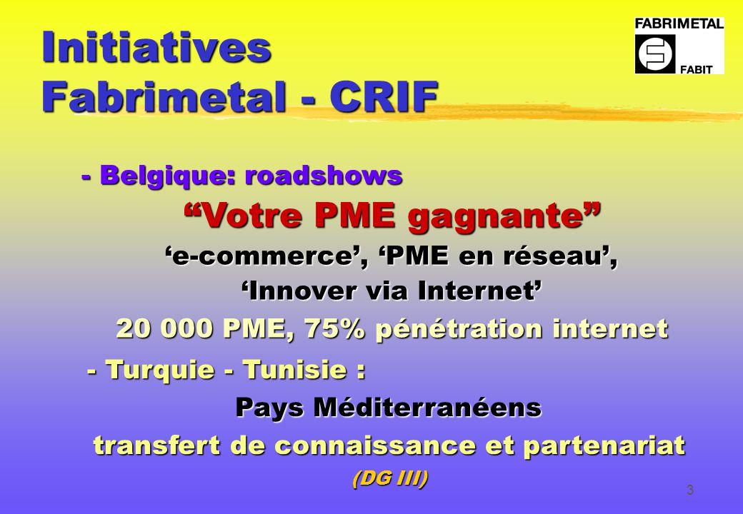 3 Initiatives Fabrimetal - CRIF - Belgique: roadshows Votre PME gagnante 'e-commerce', 'PME en réseau', 'Innover via Internet' 20 000 PME, 75% pénétration internet - Turquie - Tunisie : Pays Méditerranéens transfert de connaissance et partenariat (DG III)