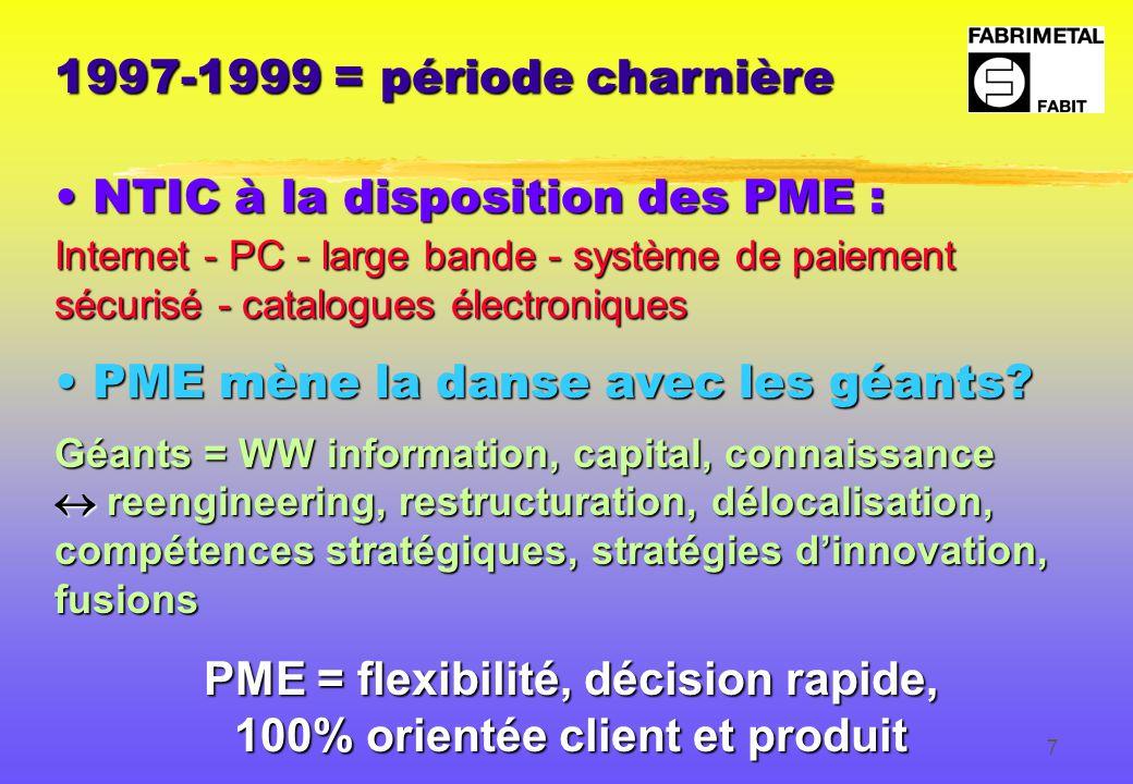7 1997-1999 = période charnière NTIC à la disposition des PME : NTIC à la disposition des PME : Internet - PC - large bande - système de paiement sécurisé - catalogues électroniques PME mène la danse avec les géants.