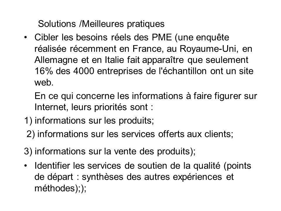 Solutions /Meilleures pratiques Cibler les besoins réels des PME (une enquête réalisée récemment en France, au Royaume-Uni, en Allemagne et en Italie fait apparaître que seulement 16% des 4000 entreprises de l échantillon ont un site web.