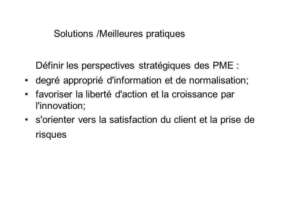 Solutions /Meilleures pratiques Définir les perspectives stratégiques des PME : degré approprié d information et de normalisation; favoriser la liberté d action et la croissance par l innovation; s orienter vers la satisfaction du client et la prise de risques