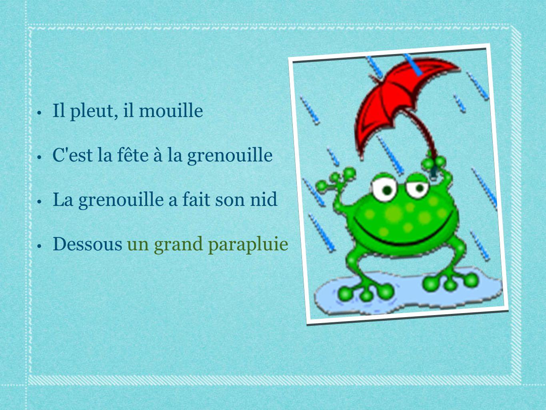 Il pleut, il mouille C'est la fête à la grenouille La grenouille a fait son nid Dessous un grand parapluie