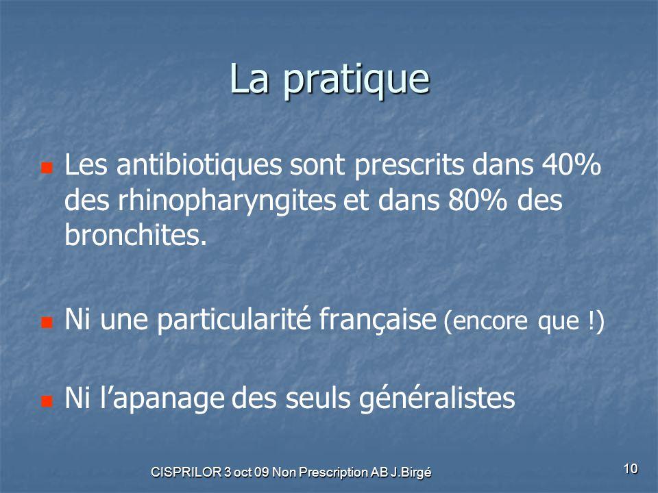 CISPRILOR 3 oct 09 Non Prescription AB J.Birgé 10 La pratique Les antibiotiques sont prescrits dans 40% des rhinopharyngites et dans 80% des bronchite