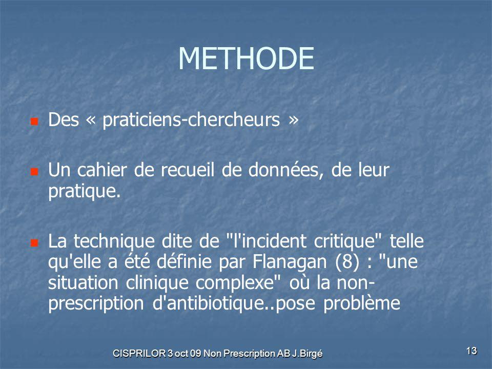 CISPRILOR 3 oct 09 Non Prescription AB J.Birgé 13 METHODE Des « praticiens-chercheurs » Un cahier de recueil de données, de leur pratique. La techniqu
