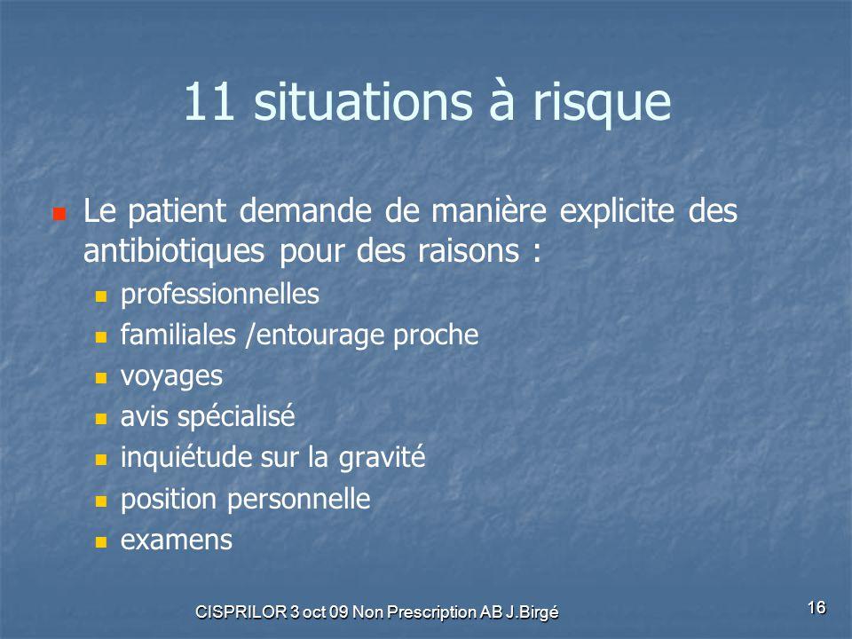 CISPRILOR 3 oct 09 Non Prescription AB J.Birgé 16 11 situations à risque Le patient demande de manière explicite des antibiotiques pour des raisons :