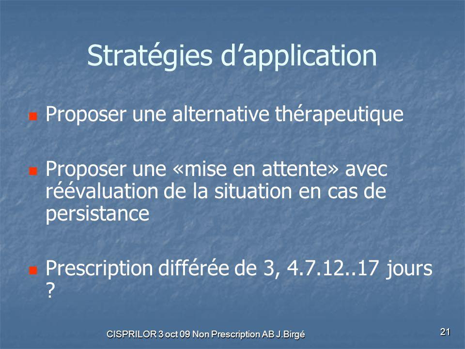 CISPRILOR 3 oct 09 Non Prescription AB J.Birgé 21 Stratégies d'application Proposer une alternative thérapeutique Proposer une «mise en attente» avec