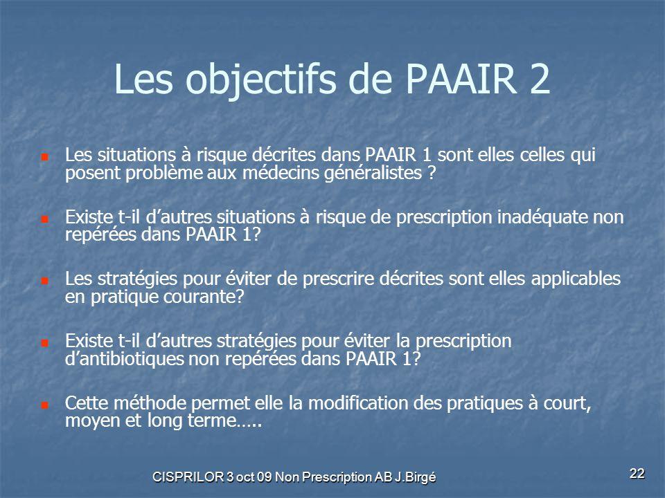 CISPRILOR 3 oct 09 Non Prescription AB J.Birgé 22 Les objectifs de PAAIR 2 Les situations à risque décrites dans PAAIR 1 sont elles celles qui posent