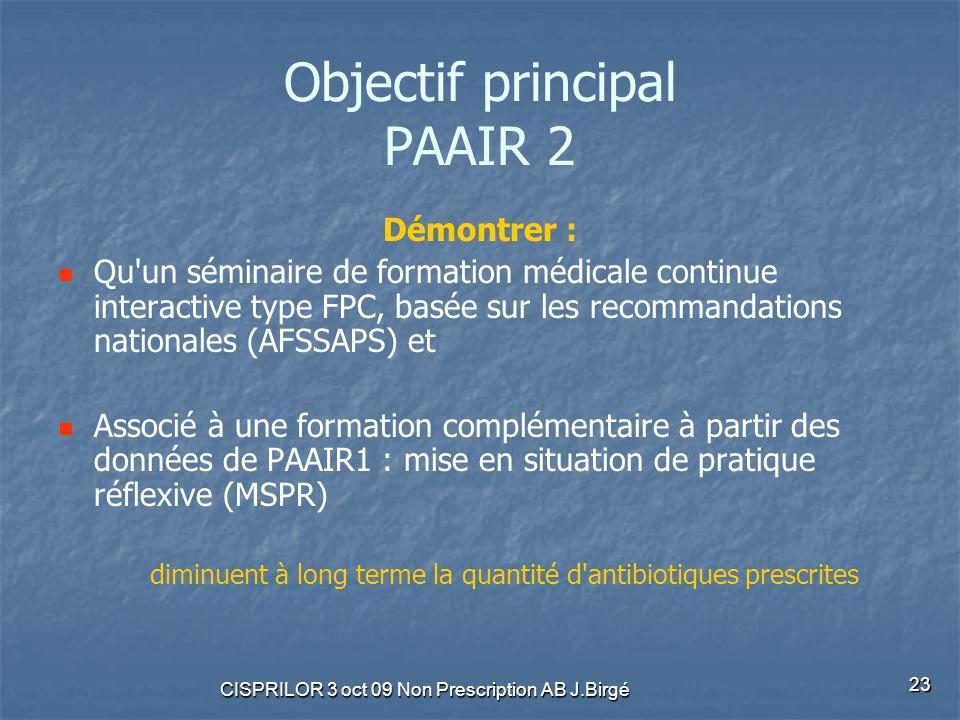 CISPRILOR 3 oct 09 Non Prescription AB J.Birgé 23 Objectif principal PAAIR 2 Démontrer : Qu'un séminaire de formation médicale continue interactive ty