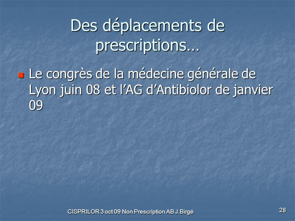 CISPRILOR 3 oct 09 Non Prescription AB J.Birgé 28 Des déplacements de prescriptions… Le congrès de la médecine générale de Lyon juin 08 et l'AG d'Anti