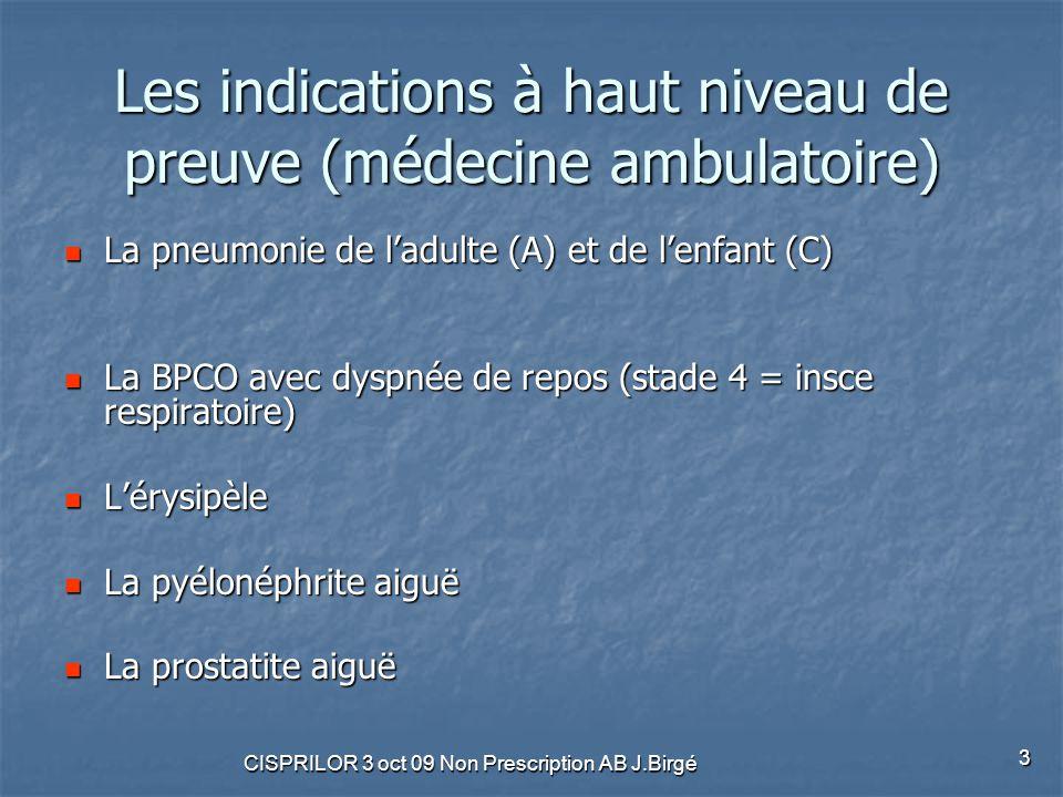 CISPRILOR 3 oct 09 Non Prescription AB J.Birgé 3 Les indications à haut niveau de preuve (médecine ambulatoire) La pneumonie de l'adulte (A) et de l'e