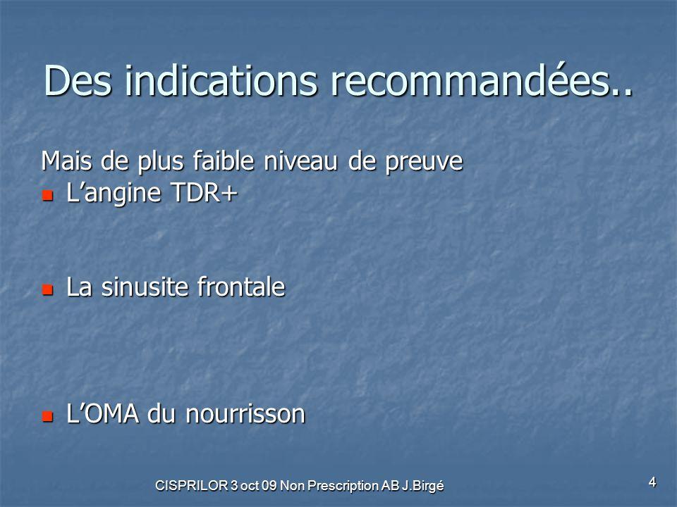 CISPRILOR 3 oct 09 Non Prescription AB J.Birgé 4 Des indications recommandées.. Mais de plus faible niveau de preuve L'angine TDR+ L'angine TDR+ La si