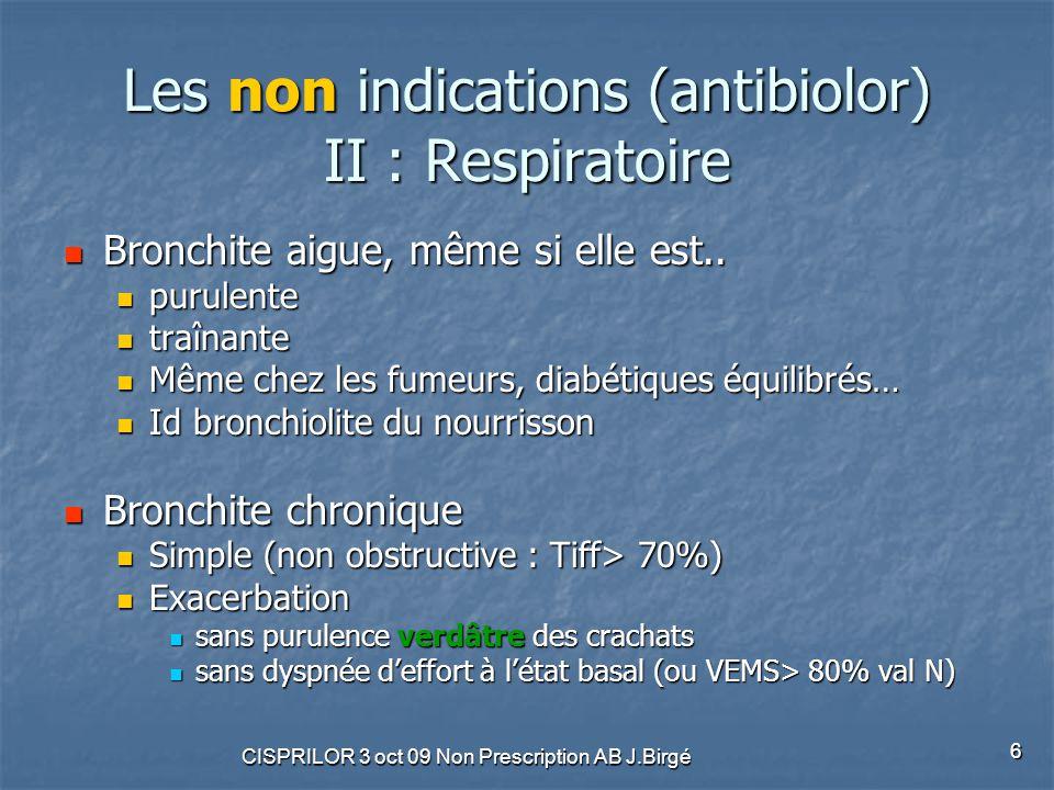 CISPRILOR 3 oct 09 Non Prescription AB J.Birgé 7 Les non indications (antibiolor) III : Divers Infections urinaires Infections urinaires Bactériurie asymptomatique Bactériurie asymptomatique Y compris sur sonde Y compris sur sonde Piqûre de tique Piqûre de tique Dans les 48 premières heures.
