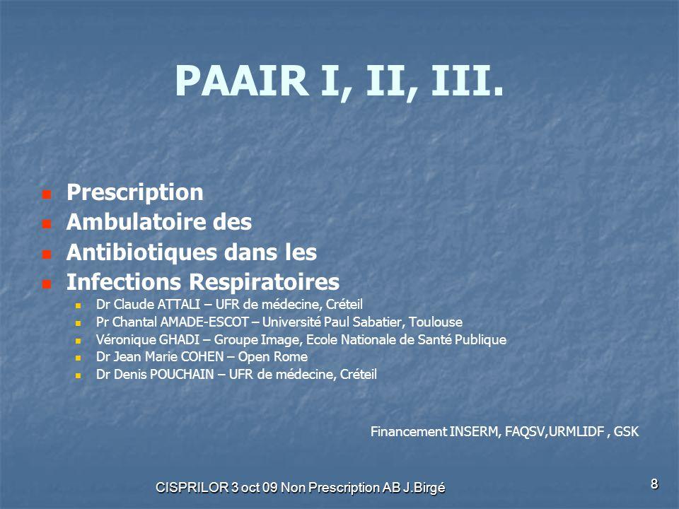 CISPRILOR 3 oct 09 Non Prescription AB J.Birgé 8 PAAIR I, II, III. Prescription Ambulatoire des Antibiotiques dans les Infections Respiratoires Dr Cla