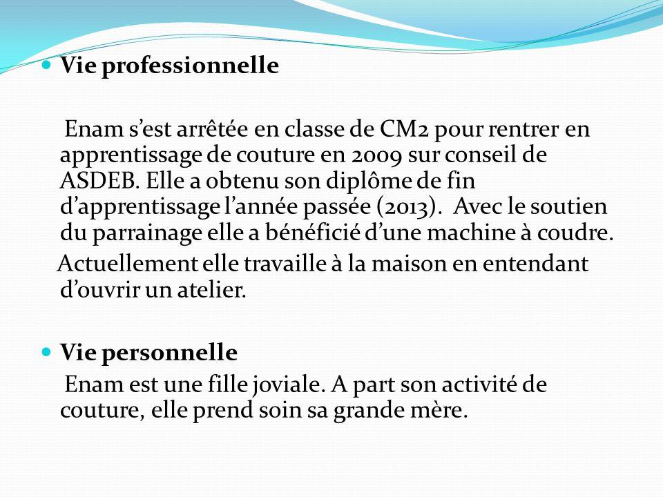 Vie professionnelle Enam s'est arrêtée en classe de CM2 pour rentrer en apprentissage de couture en 2009 sur conseil de ASDEB.